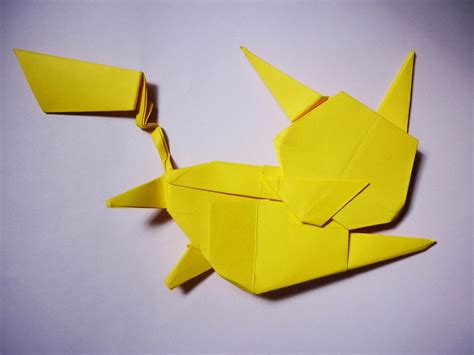 Origami Raichu - how to make an origami flying pikachu all
