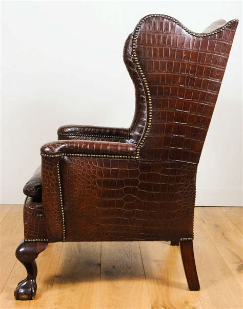 Alligator Chair by A And Chic Crocodile Upholstered Wing Chair At 1stdibs
