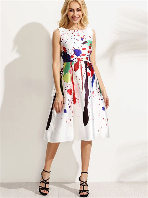 white paint splatter print fit and flare dress shein sheinside