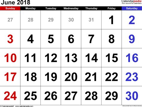 june 2018 calendars for word excel pdf