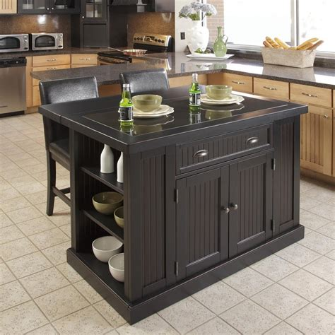 Portable Kitchen Island With Bar Stools Shop Home Styles 48 In L X 37 In W X 36 25 In H Distressed Black Kitchen Island At Lowes