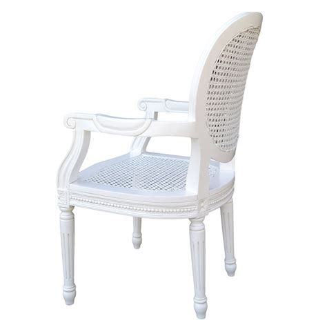 French chateau white rattan dining bedroom arm chair la maison chic