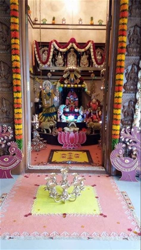 pooja room decoration ideas for varalakshmi festive