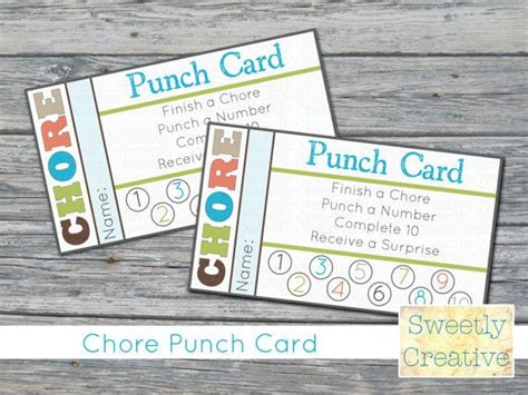 Chore Punch Card Template by Chore Punch Card Printable Instant Printable