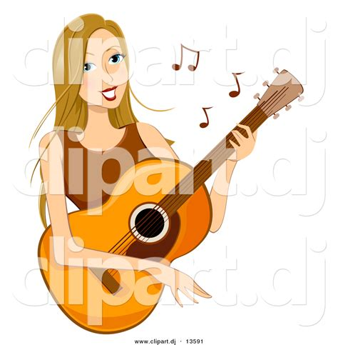 girl playing guitar clip art cartoon vector clipart of a happy girl playing acoustic
