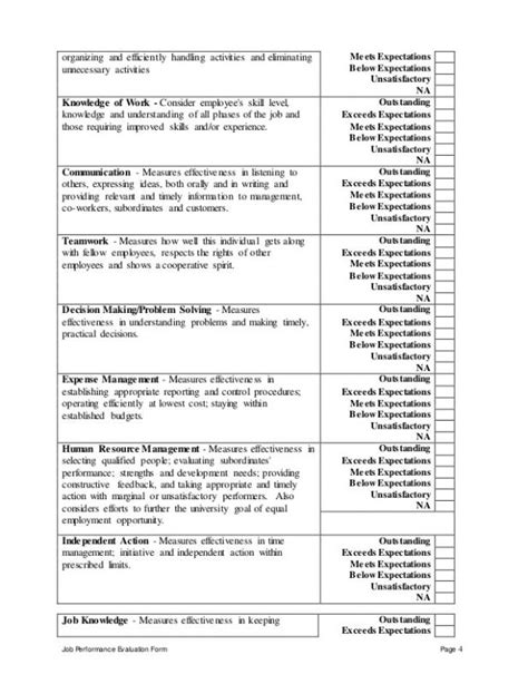 Employee Performance Review Template Resume Template Sle Performance Evaluation Templates For Managers