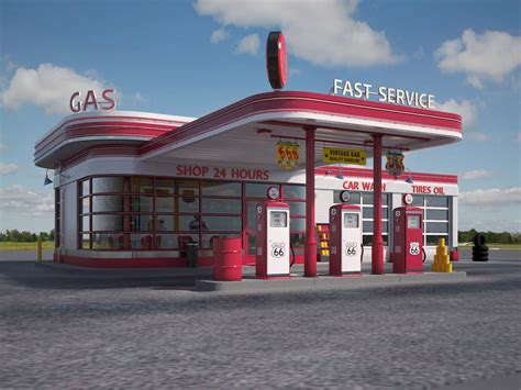 route 66 gas station gas station route66 at day and night 3d model max obj