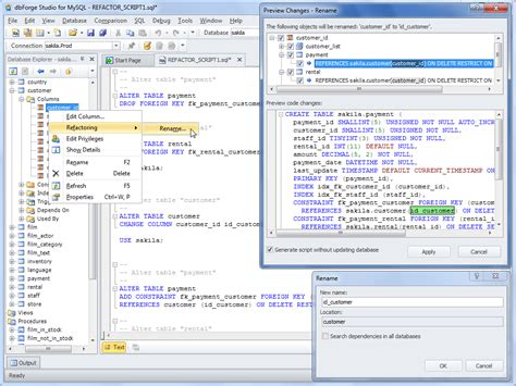 Rename Table Mysql by Refactoring Tool For Renaming Mysql Database Objects