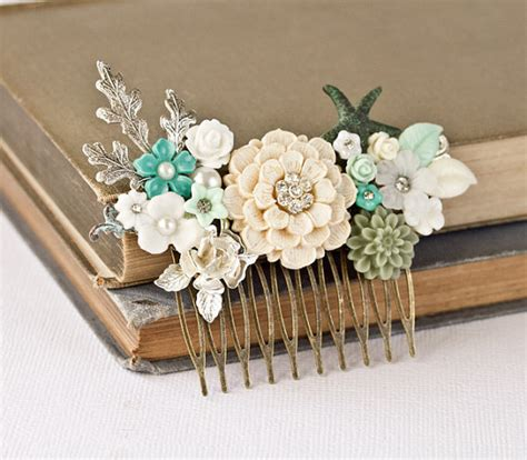 Wedding Hair Accessories Green by Ooak Wedding Hair Comb Bridal Hair Accessories Seaglass Mint
