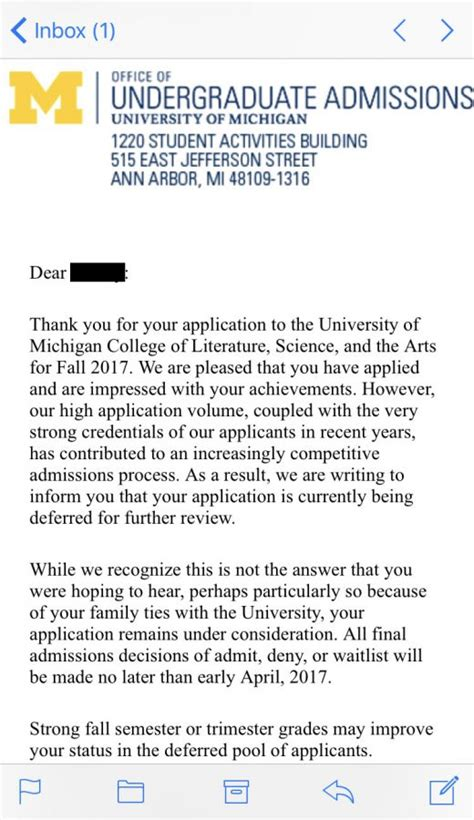 College Deferral Letter Sle The Kilt Dealing With Deferral