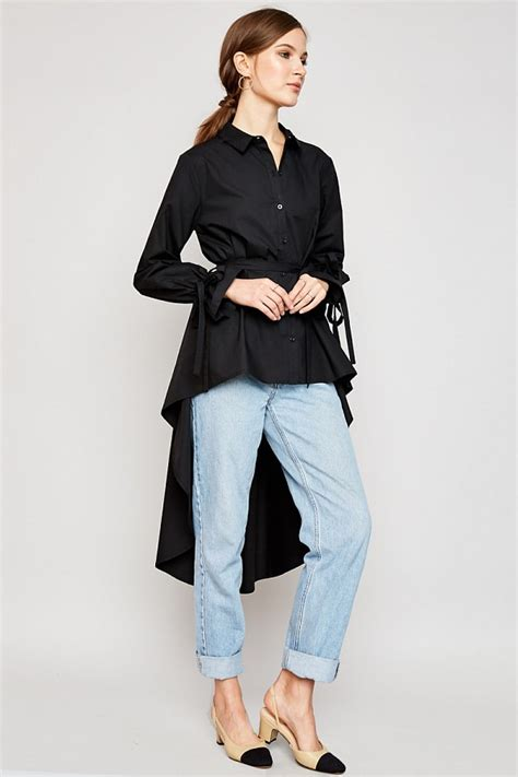 High Low Button Blouse by Black High Low Hem Button Up Blouse Modishonline