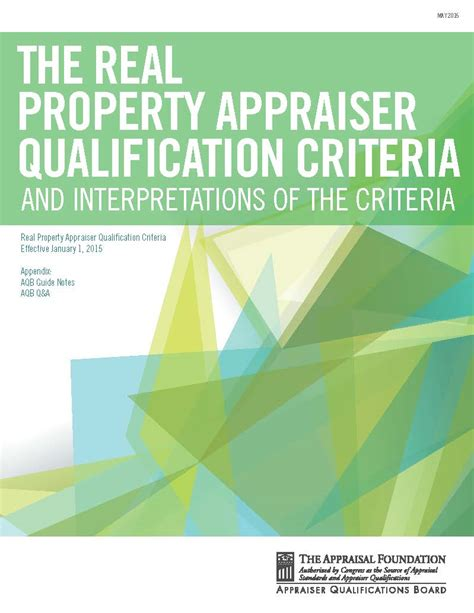 Real Property Records Real Property Appraiser Qualification Criteria