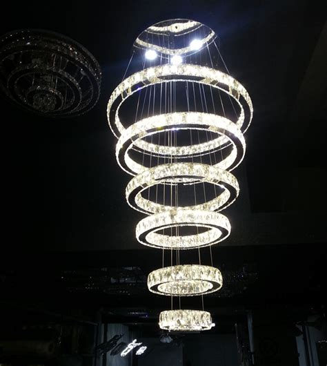 Circle Crystal Chandelier Modern Contemporary Large Circle 6 Rings