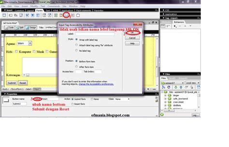 membuat online shop dengan dreamweaver cara membuat form dengan macromedia dreamweaver 8 ofmania