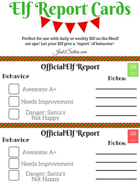 free printable elf report elf on the shelf report card printable just 2 sisters
