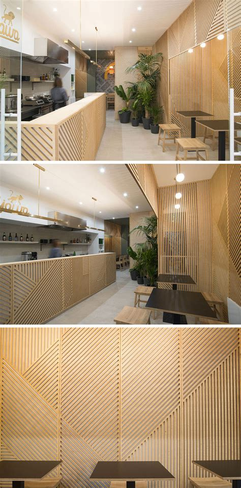 wooden decor for restaurant wall decor idea this restaurant covered its walls with