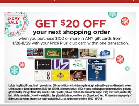 Shoprite Gift Card - 20 shoprite credit with 100 gift card purchase northeast doctor of credit
