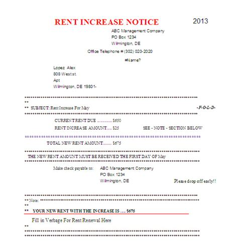section 13 rent increase form rent increase notice landlord rent increase letter in
