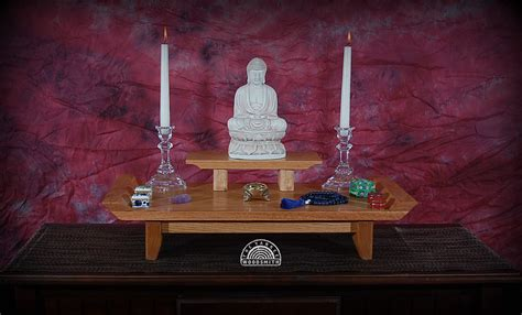 oak table top meditation altar with a by theyankeewoodsmith