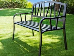 banc de jardin en m 233 tal alvernia noir hesperide jardideco