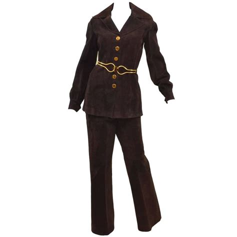 Gucci Set 1979 gucci vintage jackie o 1970s suede leather pant suit w