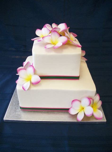 Wedding cake with Plumeria by www.americandreamcakes.com #