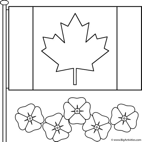 canadian flag with poppies coloring page remembrance day