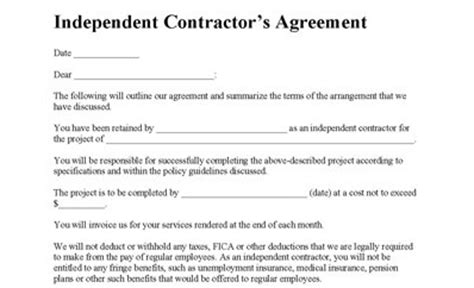 free independent contractor contract template contractor agreement free printable documents