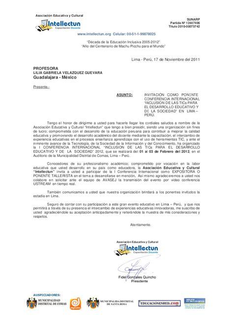 modelo carta de invitacion a conferencia carta de invitacion conferencia internacional lilia velazquez