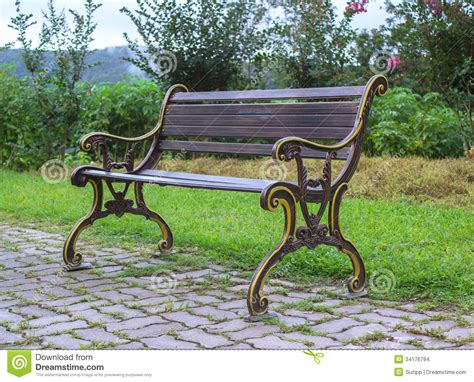 a view from the bench side view of bench in garden stock photo image 34176794