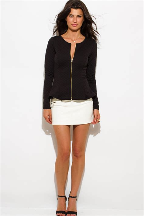 Sleeve Light Jacket shop wholesale womens black quilted sleeve peplum