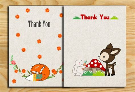 baby shower thank you cards templates free free printable woodland baby shower thank you cards baby