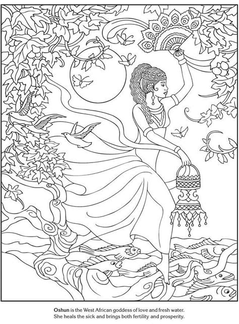 coloring page coloring adult african goddess love