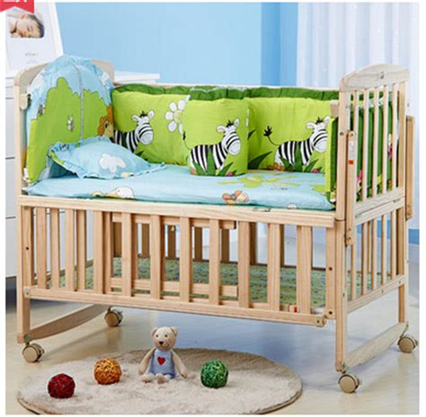 Rocking Crib Mattress Whole Set Multi Function 3 Levels Adjustable Portable Baby Cribs Rocking Bed With Mattress