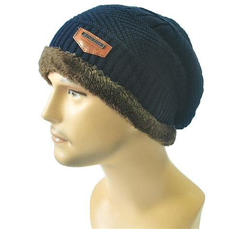 mens knit hats mens winter warm beanies knit hat fur baggy wool knitted