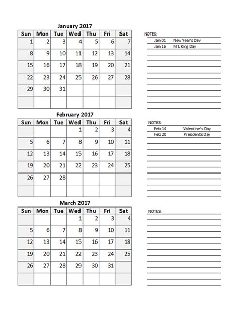 2017 quarterly calendar spreadsheet free printable templates