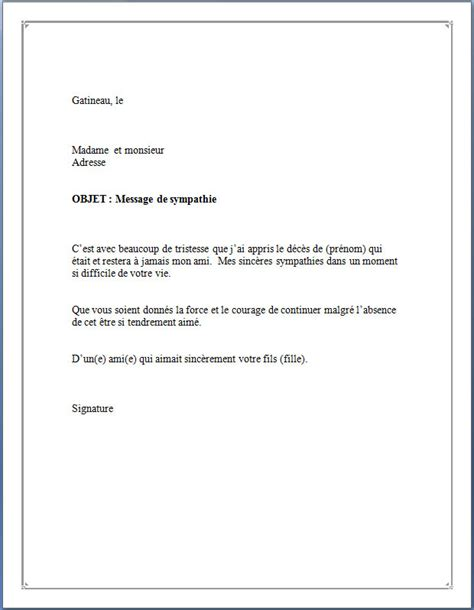 Exemple De Lettre Pour Un Ami Courrier Condol 233 Ances Mod 232 Le De Lettre