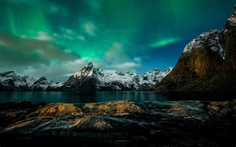 Mountain Lights by Mountains Northern Lights Coast Wallpaper
