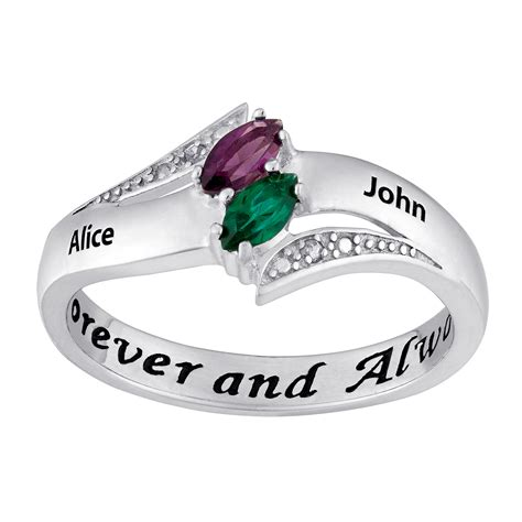 gold sterling s birthstone name ring with