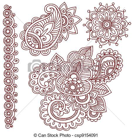 vector clip art of henna mehndi tattoo doodles vector