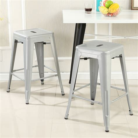 pair of 2 black counter height bar stools 24in 101039blk set of 2 metal bar stool counter height home 24 quot 26 quot 30