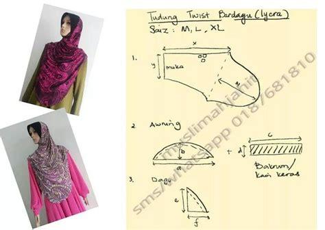 hijab cutting pattern pola twist stitchin sewin tudungs pinterest