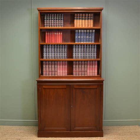 quality mahogany antique open bookcase on