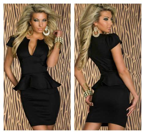 2351peplum Mini Dress High Quality With Necklace black peplum dress on luulla