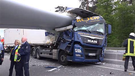 Wind Turbine Blade Slices Into Semi Truck In