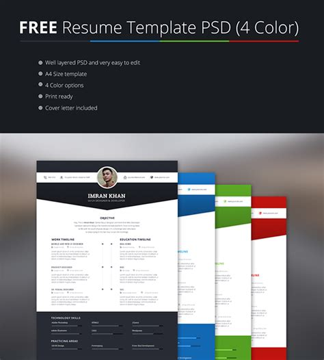 Free Resume Template Psd 4 Colors On Behance Free Resume Template Psd