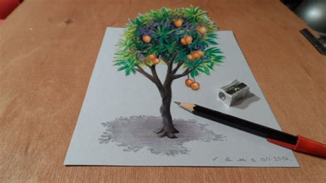 How To Make A 3d Tree Out Of Paper - drawing tree how to draw 3d mango tree trick on