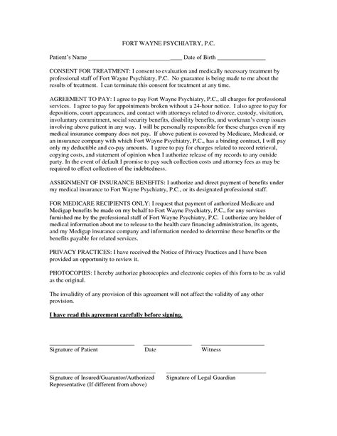 Permission To Treat Form Template best photos of consent for treatment template treatment consent form template