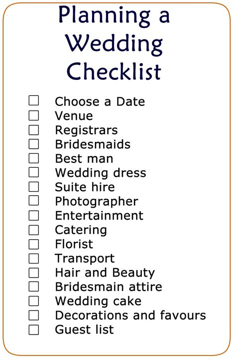 Wedding Checklist Uk Printable printable wedding checklist