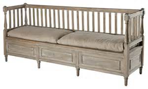 Bedroom Bench With Back Damita Country Weathered Gray High Back Storage Bench Sofa Transitional Indoor